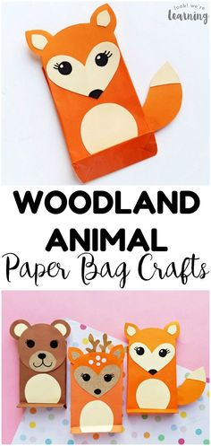 Easy Paper Bag Fox Craft for Kids - Look! We're Learning! Make these easy paper bag woodland animal crafts, including a super cute paper bag fox craft, with the kids! Perfect for a forest unit! Green Crafts For Kids, Bear Crafts, Paper Crafts For Kids, Preschool Crafts, Craft With Paper, Super Easy Crafts For Kids, Koala Craft, Lion Craft, Forest Animal Crafts