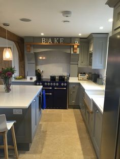 Our new kitchen, shaker style in Farrow and Ball Manor House Grey with Carrera Compac Quartz worktop Barn Kitchen, Kitchen Paint, New Kitchen, Kitchen Decor, Kitchen Design, Kitchen Grey, Kitchen Ideas, Grey Kitchens, Home Kitchens