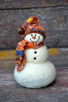 Snowman Christmas Decor Needle Felted wool by BearCreekDesign