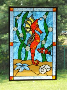 Colorful Seahorse Stained Glass Panel