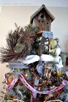 STEPLADDER Christmas Tree - birdhouse topper - by Funky Junk Interiors - how it was done. VERY creative and interesting, if you love rustic or junk style, this is pretty awesome.