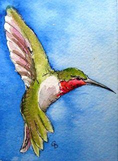 Hummingbird - ACEO bird art print by katina Watercolor Hummingbird, Watercolor Bird, Watercolor Animals, Watercolor Paintings, Watercolor Portraits, Watercolor Landscape, Hummingbird Tattoo, Watercolor Artists, Abstract Paintings
