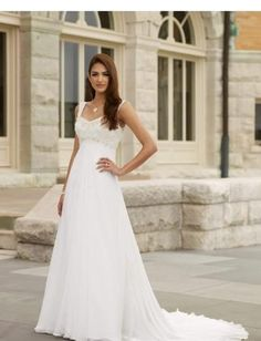 Empire A line Skirt with Chapel Train 2010 New Bridal Dress WD-0097