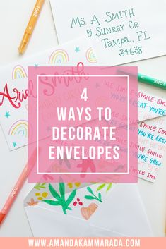 4 Ways to Decorate Envelopes - Amanda Kammarada Summer Crafts, Fun Crafts, Crafts For Kids, Paper Crafts, Writing Styles Fonts, Lettering Styles, Easy Games For Kids, Junk Mail, Decorated Envelopes