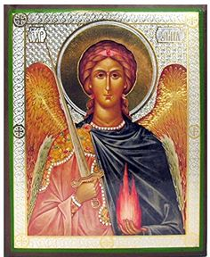 Archangel Uriel Angel Orthodox Icon Russian Wood Gold 6 Inch -- More info could be found at the image url.
