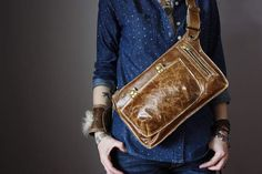 Distressed leather Belt Bag Hip bag Crossbody bag Fanny