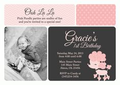 Pink Poodle Paris Birthday Photo Invitation Thank You Notes Favors (Powered by CubeCart) Paris Birthday, 2nd Birthday, Birthday Cards, Photo Birthday Invitations, Pink Poodle, Youre Invited, Thank You Notes, Birthday Photos, Photo Cards