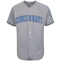 Cincinnati Reds Majestic Fashion 2016 Father's Day Flex Base Team Jersey - Gray - $262.99