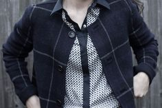 Convertible wool blend coat with patterned blouse
