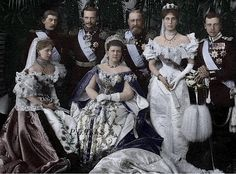 The House of Saxe-Coburg and Gotha (later changed to the House of Windsor in the UK) poses for a picture at the coronation of Tsar Nicholas II. From left to right standing: Crown Prince Ferdiand of Romania, Grand Duke Ernest Louis of Hesse, Grand Duke Alfred of Saxe-Coburg and Gotha, Grand Duchess Victoria Melita of Hesse and by Rhine (née Princess Victoria Melita of Saxe-Coburg and Gotha), Prince Alfred of Saxe-Coburg and Gotha).