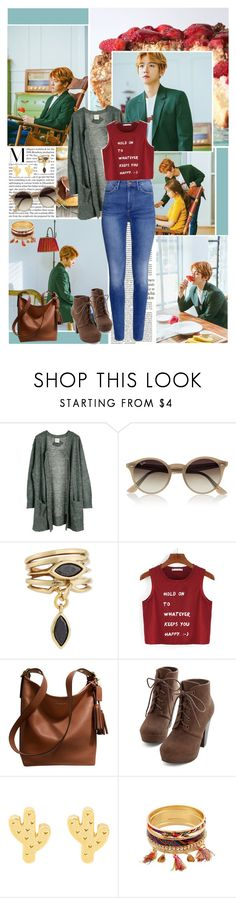 """It's enough just to have you by my side"" by angiielf ❤ liked on Polyvore featuring Julie Fagerholt Heartmade, Ray-Ban, H&M, Eddie Borgo, Coach and EXO"