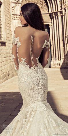 julia kontogruni 2018 bridal long sleeves sweetheart neckline full embellishment elegant mermaid wedding dress sheer button back royal train (6) zbv -- Julia Kontogruni 2018 Wedding Dresses