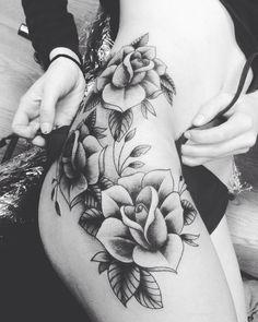 Back hip tattoos, side thigh tattoos women, hip thigh tattoos, rib tattoos for Back Hip Tattoos, Rose Tattoo On Hip, Tattoos For Women On Thigh, Hip Thigh Tattoos, Side Tattoos, Hot Tattoos, Great Tattoos, Trendy Tattoos, Beautiful Tattoos