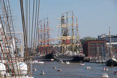 Tall ships on river Aurajoki