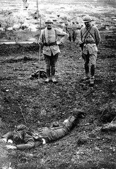 "WW1, Sept 1916. ""German soldiers killed and lying in the newly French trench."""