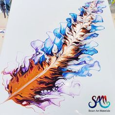 Beautiful fluid art technique. Feather art - Great for acrylic pouring beginners. Pouring paint tutorial by Olga Soby from Smart Art Materials