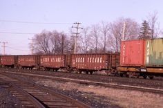 LSBC ex-ROCK ISLAND RAILROAD GONDOLAS  ON CANADIAN PACIFIC LINES AT AYR , ONTARIO APRIL 9, 1988 Probably on their way to becoming CPAA 344800-344824 for all of six months before moving to Conrail.