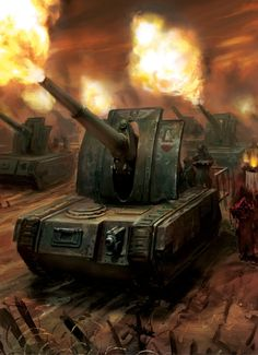 Astra Militarum (Imperial Guard) Basilisk Artillery Tanks, primary means of artillery for most Guard regiments