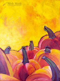 Pumpkin painting yellow and orange wall hanging by MishMashArt, $115.00