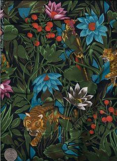 Jungle Print Fabric Tiger Leopard Parrot 1 1/2 Yards Cotton Y0194 via Etsy