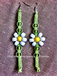 Handmade Hemp Daisy Earrings by PeacefulHempJewelry on Etsy $6.00