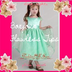 """Turquoise A-line Square Tea-length Organza Belt Little Girl Dress"" by prettydressesforyou ❤ liked on Polyvore"