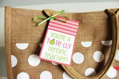 Teacher Appreciation Free Printable Tags | Tote Bag Gift Idea
