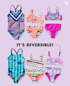 Make a splash in reversible swimsuits!