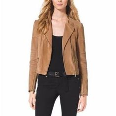 Leather Quilted Moto Jacket in Suede