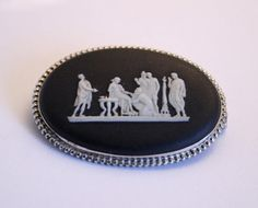 Vintage Wedgwood brooch. Black and white.  by chicvintageboutique