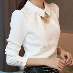 Spring and Autumn 2017 New Arrival Hot Sale Women Fashion Tops Korean Long Sleeved Chiffon Shirt Slim Lace Blouse 30 Mode Outfits, Fashion Outfits, Womens Fashion, Office Outfits, Casual Outfits, Chiffon Shirt, Chiffon Tops, Lace Chiffon, Chiffon Fabric