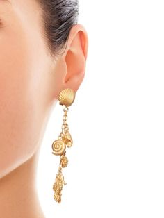 Valentino Shell and seahorse drop earrings