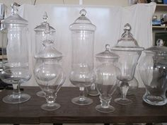 apothecary jars, I love these... Had some when I was young... love all the different shapes