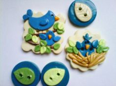 Button Bluejay and Baby handmade polymer clay button set    5