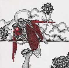 "Dragonfly.  Measuring 8""x 8"" ink and collage on paper.  Commissioned directly from the artist.    In a private collection."