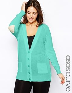 ASOS CURVE Exclusive V Neck Cardigan With Lace Elbow Patch