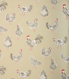 Great fabric for a country style kitchen. Available in a range of pastel colours… Kitchen Blinds Fabric, Curtains With Blinds, Cottage Curtains, Clarke And Clarke Fabric, Miniature Chair, Chickens And Roosters, Contemporary Fabric, Fabric Birds, Curtain Fabric