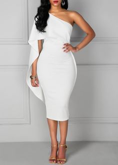 Batwing Sleeve Knee Length White One Shoulder Dress ( More Colors )