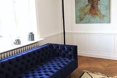 This blue velvet sofa is amazing!!!! PIECES & PLACES