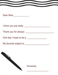 Teacher Appreciation: A Note for Your Teacher (Free Printable)