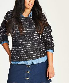 Peony Marled Back-Zip Long-Sleeve Sweater - Plus