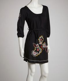Take a look at this Black Floral Hem Stitch Shift Dress by Bella Carra on #zulily today! $40 !!