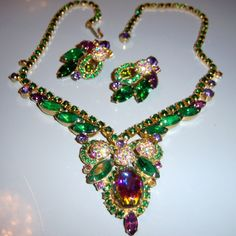 VTG JULIANA D&E WATERMELON RARE ENCRUSTED RHINESTONE BALL NECKLACE EARRING SET in Jewelry & Watches, Vintage & Antique Jewelry, Costume   eBay