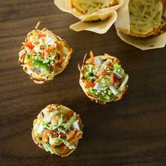 Ramen Cups with Cabbage and Pork Slaw Sesame seeds add a nutty little crunch to this tasty appetizer. Toast them easily in just 2 or 3 mi...