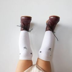 Knee-high bunny socks and sturdy leather booties | hubbelandduke, on Instagram