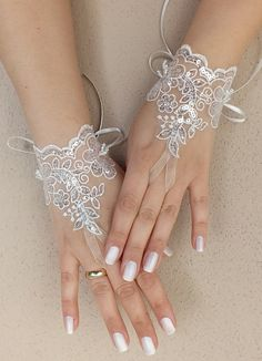 wedding gloves sequined ivory Wedding Glove, Fingerless Glove, High Quality lace, ivory wedding gown, handmade