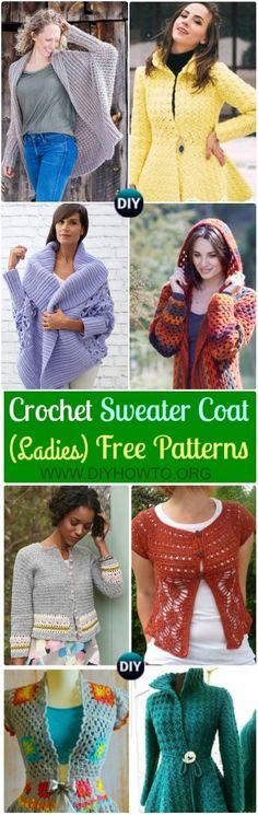 Crochet Women Sweater Coat Cardigan Free Patterns: Crochet Open Front Sweater Coat, Button Up Sweater Coat, Zip Up Sweater Cardigan via @diyhowto