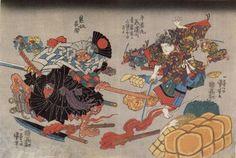 The fight between Ushiwakamaru [Minamoto no Yoshitsune (源 義経?, 1159 – June and the bandit chief Kumasaka Chohan in Yoshitsune was only 15 when he defeated the notorious bandit leader. Minamoto No Yoshitsune, Japanese History, Japanese Art, Kuniyoshi, Oriental, Chivalry, Irezumi, Held, Asian Art