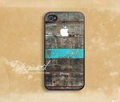 iPhone 5 case, iPhone 4 case, iPhone 4s case, case for iPhone 4, wood pattern mint stripe with apple logo B219