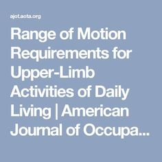 Range of Motion Requirements for Upper-Limb Activities of Daily Living Ot Therapy, Hand Therapy, Physical Therapy, Therapy Ideas, Occupational Therapy Assistant, Occupational Therapy Activities, Activities Of Daily Living, Activities For Adults, Nursing School Requirements